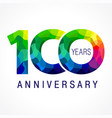 100 anniversary color logo vector image