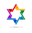 Abstract design element rainbow star on white vector image vector image
