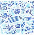 abstract marker indigo color lines seamless vector image vector image