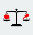 black scales balance apple and meat icon vector image
