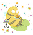bumble bee bee wuth cake and sweets insects vector image vector image