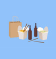 chinese food take away with beer vector image vector image