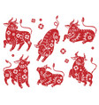 chinese new year 2021 ox red paper vector image vector image