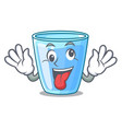 crazy glass of mineral water on cartoon vector image vector image