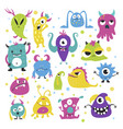 cute funny little monsters in bright colors vector image