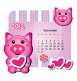 december pig calendar vector image vector image