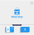 fashion bag shoping with whale simple logo type vector image vector image