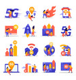 fast speed internet flat icons vector image vector image