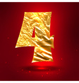 Figure 4 made of golden crumpled foil vector image vector image