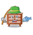 fishing character bedside table in the room vector image