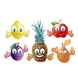 Funny cartoon fruits icons vector image vector image