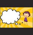 girl with speech balloon vector image vector image