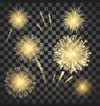 gold festival fireworks set colorful carnival vector image vector image