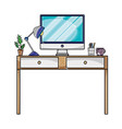 grated office desk with lamp and computer screen vector image