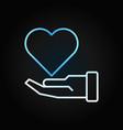 hand with blue heart charity creative vector image vector image