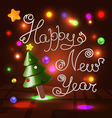 Happy New Year white caramel 3d lettering vector image vector image