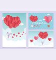 happy valentines day origami cards balloons air vector image