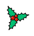 holly berry christmas icon isolated on white vector image vector image