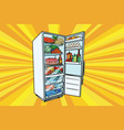 home refrigerator filled with food vector image