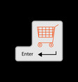 input key with shopping cart image vector image