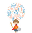 kid playing warrior with education icon vector image