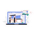 laptop using selection materials app for house vector image vector image