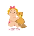 little baby girl in nappy with teddy bear needing