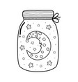 magic in a jar coloring page with a cute sleeping vector image