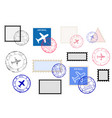 mail stamps collection and ink impress set vector image vector image