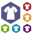 Men tennis t-shirt icons set vector image vector image