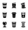 metal basket icons set simple style vector image vector image