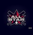 modern professional emblem all star for baseball vector image