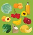 Oil fruit vegetables cereals berries vector image