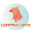 pink eagle head inside blue bubble logo on white vector image vector image