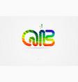 qb q b rainbow colored alphabet letter logo vector image vector image