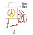 rhode island state map and flag vector image vector image