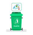 Rubbish container for plastic waste icon recycle