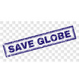 scratched save globe rectangle stamp vector image vector image