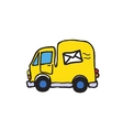 Simple of post car auto with mail symbol vector image