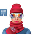 ski suit winter woman composition vector image vector image