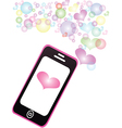 Smartphone sharing love Pastel color message vector image