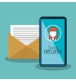 smartphone with avatar female and message email vector image