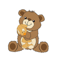 teddy bear playing with his toy a little dog vector image vector image