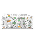 thin line art museum poster banner template vector image vector image