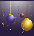 three new year s ball toys of different colors on vector image