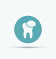 tooth with foam isolated round icon vector image vector image