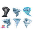 tornado hurricane 3d icon set vector image
