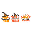 trick or treat halloween banners with pumpkins vector image