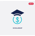 two color scholarship icon from e-learning and vector image