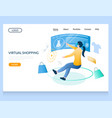 virtual shopping website landing page vector image vector image